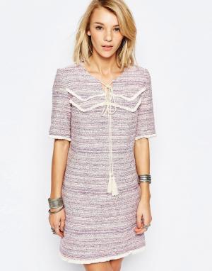 Deby Debo Платье с кисточками Rythme. Цвет: розовый