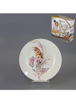 Тарелка десертная НЕЖНЫЕ ГРЁЗЫ 19 см SAGURO. Цвет: белый