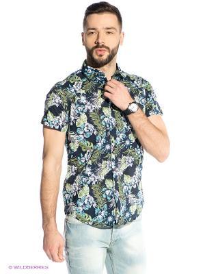 Рубашка Oodji. Цвет: темно-синий, зеленый