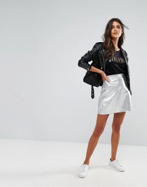 Vero Moda Блестящая мини-юбка металлик. Цвет: серебряный