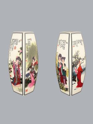 Ваза Китаянка Elan Gallery. Цвет: белый, зеленый, красный, розовый