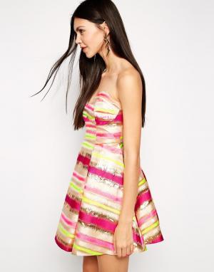 Lashes of London Платье-бандо для выпускного с полосками металлик. Цвет: мульти