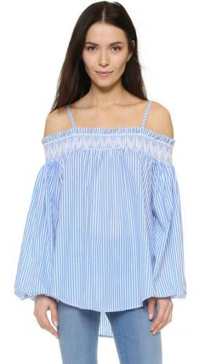 Блуза с открытыми плечами ENGLISH FACTORY. Цвет: голубой/белый