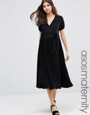 ASOS Maternity Чайное платье миди для беременных с запахом. Цвет: черный