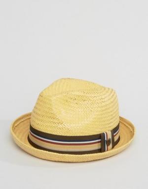 Brixton Соломенная шляпа-федора Castor. Цвет: рыжий