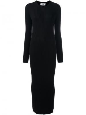 Длинное платье в рубчик Courrèges. Цвет: чёрный