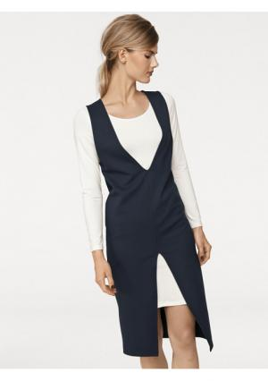 Комплект: платье с длинными рукавами + без рукавов Rick Cardona. Цвет: темно-синий/экрю