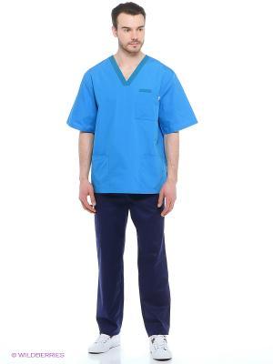 Рубашка медицинская Med Fashion Lab. Цвет: голубой, синий