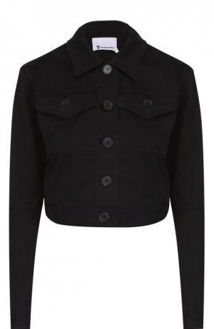 Укороченная джинсовая куртка с накладными карманами T by Alexander Wang. Цвет: черный