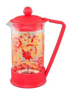 Чайник с поршнем Viva - Кружево Хохлома Elan Gallery. Цвет: красный