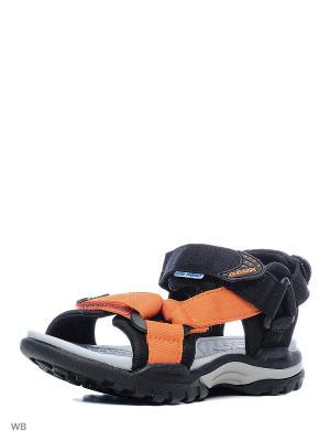 Сандалии GEOX. Цвет: черный, оранжевый