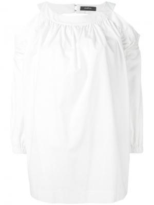 Блузка с открытыми плечами Wandering. Цвет: белый