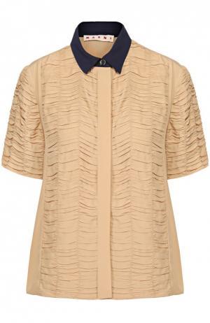 Блуза прямого кроя с декоративной отделкой и контрастным воротником Marni. Цвет: бежевый