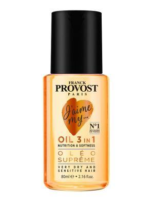 Масло  3-в-1 для питания и придания мягкости сухим волосам, 60мл Franck Provost. Цвет: светло-желтый
