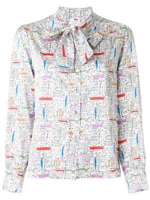 Блузка с вышивкой и завязкой Ultràchic. Цвет: белый