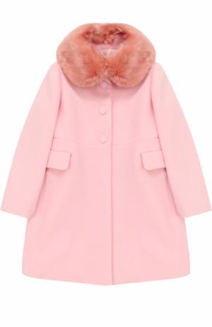 Пальто прямого кроя с воротником из эко-меха I Pinco Pallino. Цвет: розовый