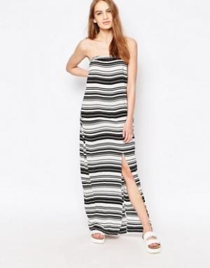 Suboo Платье-бандо макси в полоску. Цвет: белый