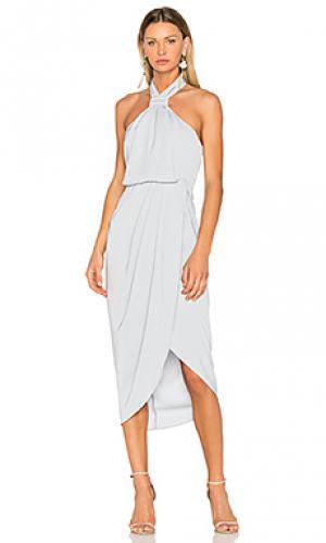 Драпированное платье с узлом Shona Joy. Цвет: нежно-голубой