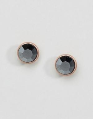Pilgrim Серьги-гвоздики с серыми камнями. Цвет: черный