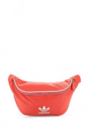 Сумка поясная adidas Originals. Цвет: красный