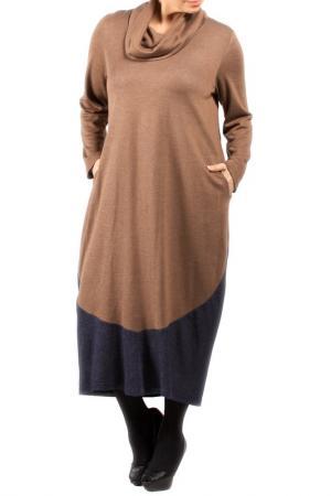 Платье Zedd Plus. Цвет: camel and dark blue