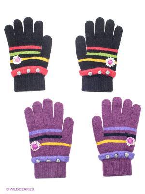 Перчатки, 2 пары FOMAS. Цвет: черный, фиолетовый