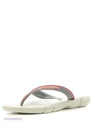 Шлепанцы Havaianas. Цвет: белый, красный