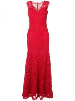Платье с цветочной вышивкой Tadashi Shoji. Цвет: красный