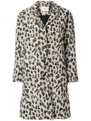 Однобортное пальто с леопардовым узором Bellerose. Цвет: телесный