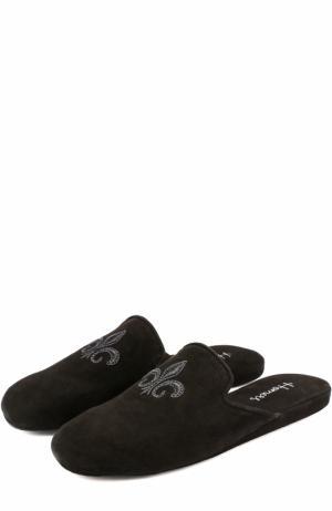 Домашние замшевые туфли с вышивкой Homers At Home. Цвет: черный