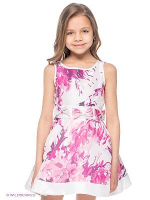 Платье Fun. Цвет: фуксия, белый