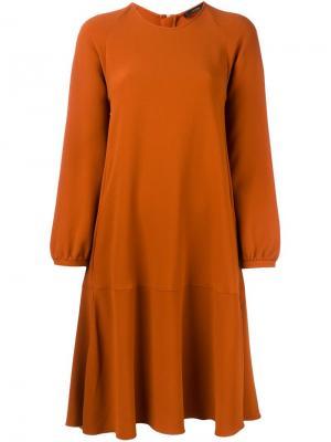 Платье А-образного силуэта с длинными рукавами Odeeh. Цвет: жёлтый и оранжевый
