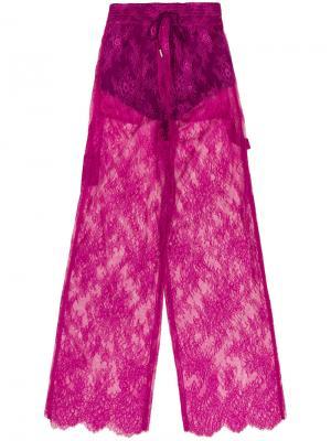 Широкие кружевные брюки Off-White. Цвет: розовый и фиолетовый