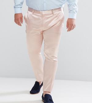 ASOS Светло-розовые сатиновые супероблегающие брюки PLUS Wedding. Цвет: розовый