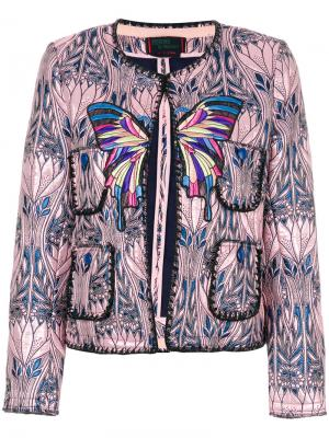 Укороченная жаккардовая куртка Femme By Michele Rossi. Цвет: многоцветный