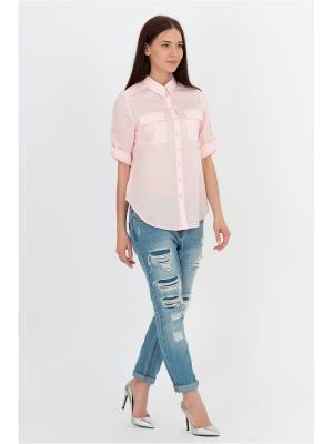 Блузка EMKA FASHION. Цвет: розовый, оранжевый