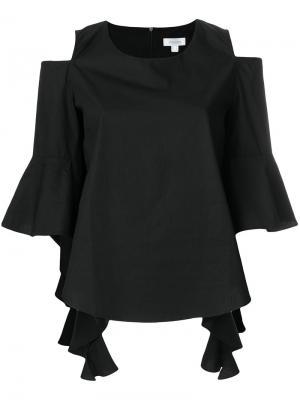 Топ с открытыми плечами и рукавами клеш Jovonna. Цвет: чёрный