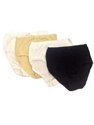 Трусы женские комплект 4 шт Oztas underwear. Цвет: черный, бежевый, белый