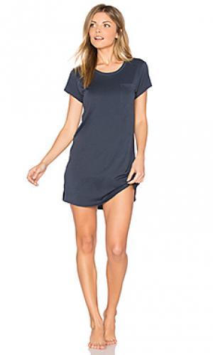 Платье-футболка для сна Skin. Цвет: синий