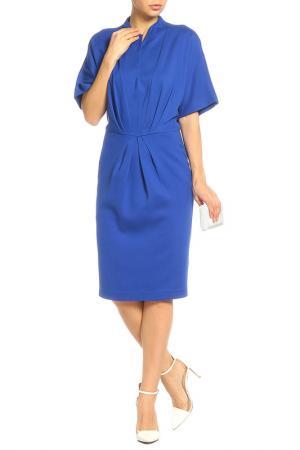 Платье приталенного силуэта UNQ. Цвет: синий