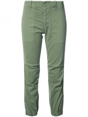 Укороченные брюки с лампасами Nili Lotan. Цвет: зелёный