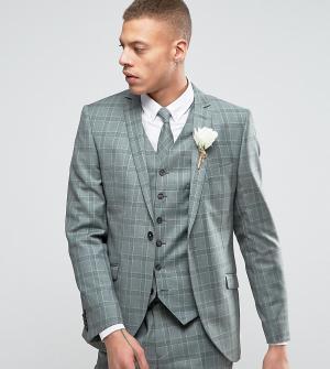 Heart & Dagger Приталенный пиджак в клетку Summer Wedding. Цвет: зеленый