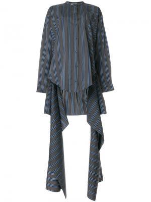 Полосатая рубашка с асимметричным подолом Ports 1961. Цвет: серый