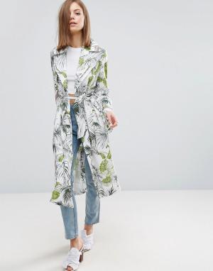 ASOS Мягкое пальто с тропическим пальмовым принтом. Цвет: мульти