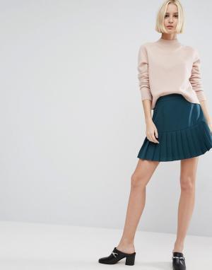 ASOS Мини-юбка с кромкой в складку. Цвет: зеленый