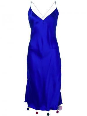 Платье с помпонами на подоле Natasha Zinko. Цвет: синий