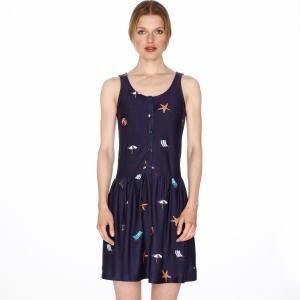 Платье без рукавов с вышивкой пляж PEPALOVES. Цвет: темно-синий