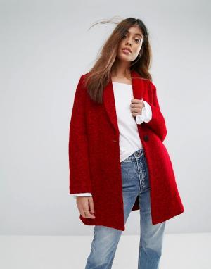 Suncoo Шерстяное пальто. Цвет: красный