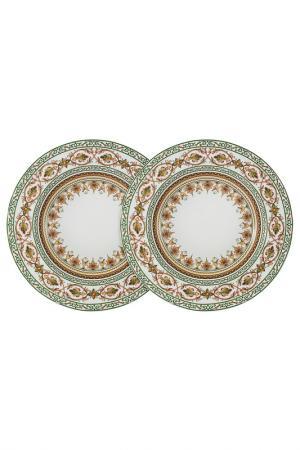 Набор из 2-х суповых тарелок Colombo. Цвет: бело-розовый