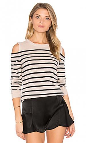 Полосатый свитер с открытыми плечами Autumn Cashmere. Цвет: серый